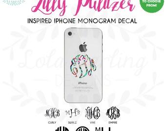 Lilly Pulitzer Inspired iPhone Monogram Vinyl Decal