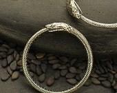 Snake -Sterling Silver - Ouroboros Snake Ring, cj704, Link, Connector, Snake Connector, Snake Ring, Round Snake, Symbolic, Power, Serpen