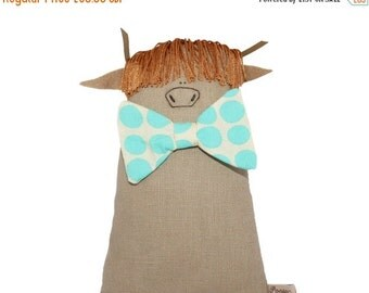 ON SALE 25% OFF Highland Cow Art Doll, Soft Toy Cow with Turquoise Polka Dot Bow Tie, Highland Coo Doll, Stuffed Toy Farm Animal, Poosac, Gi