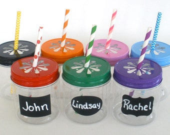 """Plastic Mason Jars 8oz w/ """"FREE"""" Chalkboard Labels / Kids Cups / 20 Plastic Jars, 20 Daisy Cut Jar Lids & 20 Labels / Kids Party"""