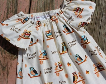 Girl's Infants Toddlers Harvest Owls Peasant Dress