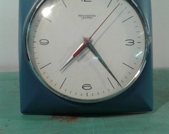 "vintage mid century blue wall clock, by "" Remigton  lektro"", made in Germany, ceramic clock"