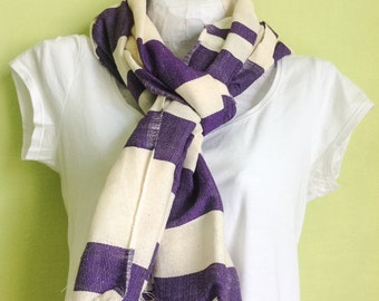 Purple scarf- purple  & white cotton striped scarf for women- handwoven ethiopian scarf and shawl- PURPLE cotton scarves- purple Accessories