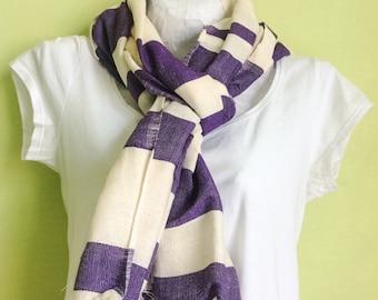 scarf/ Bellabisinia/ Cotton Scarf/ Purple scarf/ purple  Violet & white striped Cotton scarf/ Women scarves wrap shawl/ woven / Ethiopian