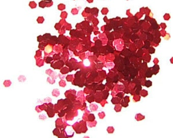 Apple Red SOLVENT RESISTANT Glitter 0.040 Hex - 1  Fl. Ounce for Glitter Nail Art, Glitter Nail Polish & Glitter Crafts