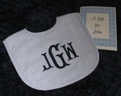 Personalized  Baby Gift  -- Personalized Gingham  Seersucker Bib ---  Monogrammed Baby Gift - Shower Gift - Great for Twins
