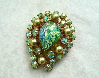 Vintage AB Rhinestone Brooch Horseshoe Faux Pearl Glass Teardrop Foil Cabochon Blue Green