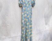 Reserved for Lola Antique 1930s floor length feminine summer floral dress- 30s Boardwalk Empire bias cut dress - small