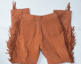 size 10 | Char & Sher Designs Rust Brown Suede Fringe Pants