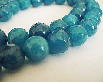 Jade Beads Bluish Green Faceted Round 10MM