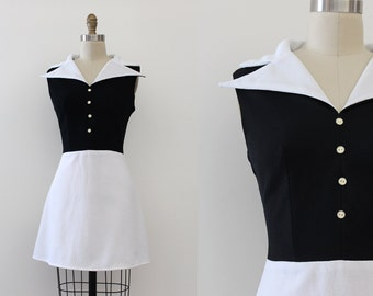 vintage 1960s dress // 60s black and white mod dress