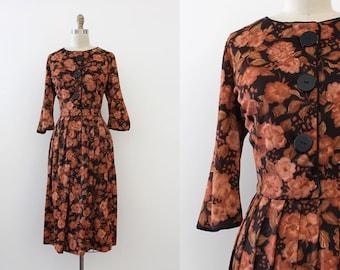 SALE / vintage 1950s dress // 50s brown floral day dress