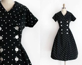 vintage 1950s dress // 50s polka dot sailor collar dress