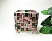 Stained glass mosaic votive candle holder rose red olive green