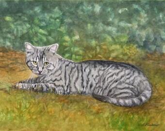 Tabby Cat Art, Tabby Cat Print, Tabby Watercolor, Tiger Striped Cat Art, Cat in Nature Print, Tabby Watercolor Painting by P. Tarlow