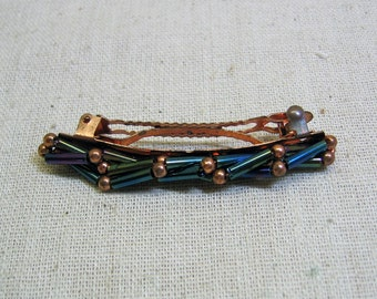 Vintage Teal Blue Bead and Copper Hair Barrette