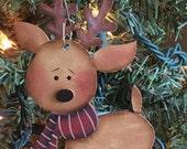 Rudolph ornament, reindeer ornament, wood reindeer, Christmas ornament, Christmas decor, hand painted, Santa's helper, Santa Claus, folk art