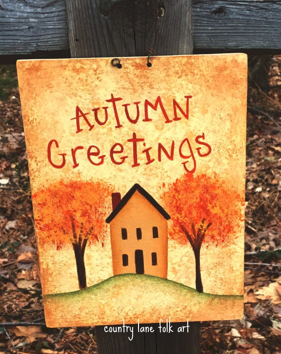 Autumn sign, hand painted fall sign, wooden sign, thin light weight wood, prim decor, country decor, fall decoration, saltbox house