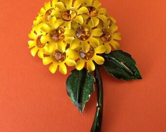 Beautiful Bright Yellow 1960's Enamel Flower Brooch
