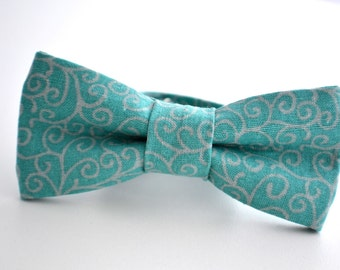 Children's Bowtie Teal and Gray Scroll Pattern, Turquoise Bow Tie, Ring Bearer Outfit, Ringbearer Gift, Kids Bow Ties