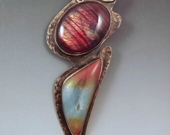 Red Labradorite and Amazonite- RedPaw Signature Pendant- Edgy Design- Smoky Bronze- Metal Art -Statement Necklace