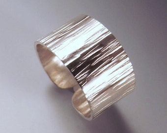 """Sterling Silver Hammered Ring- Tree Bark Texture- Adjustable Band Ring- 3/8"""" Wide"""