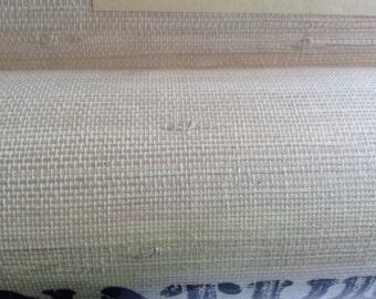 "Vintage Textured Grass cloth Wallpaper Roll, Made in Korea.  TIKI BAR.  Grasscloth.  36"" X 24 feet long.  Oriental Textures.  Mid century."