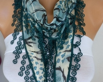 Teal Cotton Scarf - Shawl Cowl Scarf Gift Ideas for Her Women Fashion Accessories,women scarves