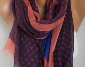 Houndstooth Cotton Scarf, Shawl, Fall Scarf, Cowl,Wrap Bridesmaid Gift, Gift Ideas For Her, Women Fashion Accessories,Christmas Gift Scarves