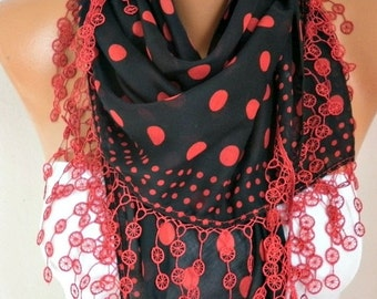 Spring Red & Black Polka Dot Cotton Scarf Mother's Day Gift Shawl Bridesmaid Gift  Cowl Gift Ideas For Her Women Fashion Accessories