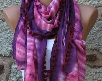 Purple Ombre Scarf , Shawl, Batik Design Cowl Scarf bridesmaid gift Gift Ideas For Her Women fashion Accessories Pompom Scarf,Mother's Gift