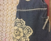 Boutique Dress a little boho, a little hipster alot of cute!12-18 month baby gap restyled jean dress. Vintage doilies,lace, Easter Dress
