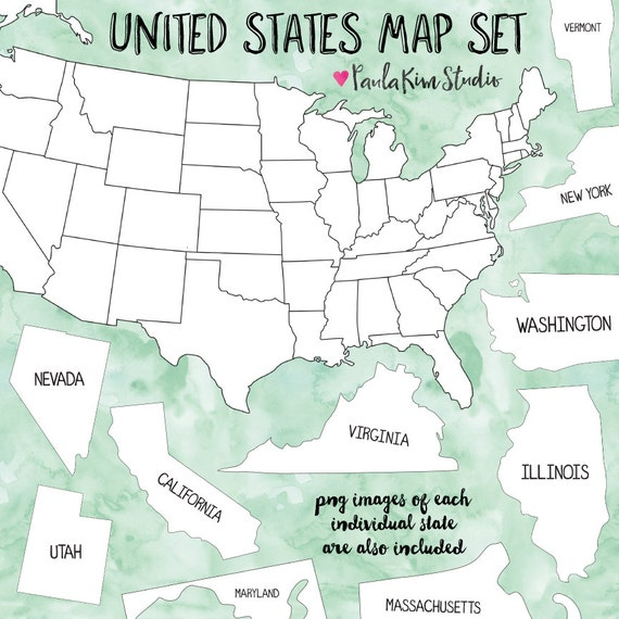 United States Map Clipart, Teacher Clip Art, Map Clipart, Instant Download