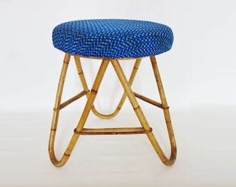 Vintage Blue Padded Rattan Stool