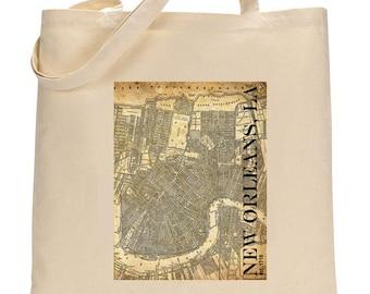 Tote Bag - New Orleans Street Map - Vintage - Canvas Tote Bag - Sepia Grunge