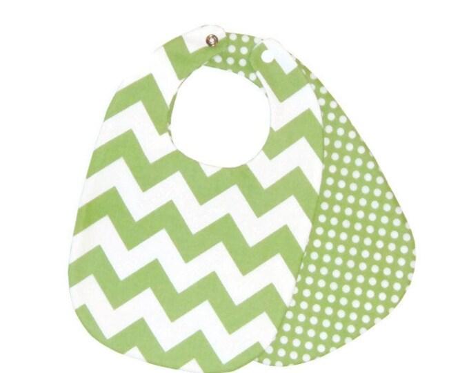 Chevron Baby Bib - Green and White Bib - Unisex Baby Bib - Baby Gift Under 10