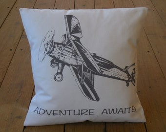 Adventure Awaits Airplane Pillow, Nursery, Shabby Chic, INSERT INCLUDED