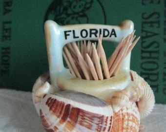 Vintage Seashell Florida Souvenir Toothpick Holder