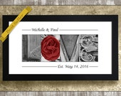 WEDDING GIFT for COUPLES, Newlywed Gifts, Bridal Shower Gift, Alphabet Photography, Framed Love Print, 1st Anniversary Gift