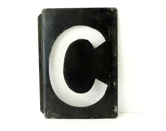 "Vintage Metal Letter ""C"" Moonglo Marquee Letter, 13"" tall (c.1900s) - Industrial Home Decor, Typography Collectible"