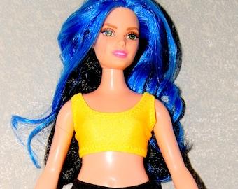 Curvy Barbie Dark Yellow sports bra exercise top A4B158 fashionista fashion doll clothes