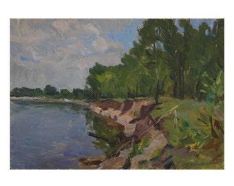 Vintage Oil Painting - Riverbank
