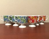 Mod Flower Coffee Cups / Floral Tea Cup Set / Made in Japan / Porcelain Mid Century Mod Flower Power Cups / Floral Pedestal Cups