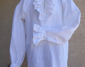 Linen Ruffled Shirt Size M  Ready to ship. / Pirate /  Colonial / Civil war / Historical / Pioneer / Reenactment /  Renaissance.