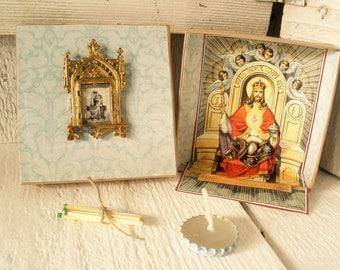 Mini prayer box Christian shrine meditation upcycled embellished pocket size