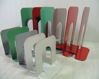 Mid Century Collection of Heavy Duty Red Green Grey & White Enamel Metal Book Ends - Vintage Office Supplies Set of 11 Large Steel Pieces