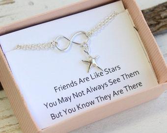 Sterling Silver Infinity Star Bracelet... Friendship Sentiment Card