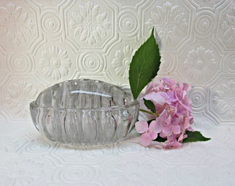 Antique Glass Dome Flower Frog Embossed Pat'd April 11 1916 Oval Flowers Pens Paperweight Prop