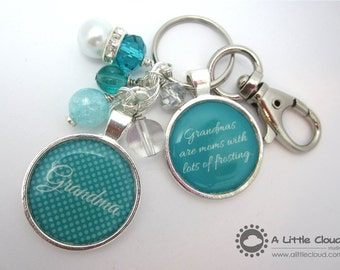 Beaded Keychain Mother's Day Gift, Custom Keychain, Personalized Purse Clip, mother in law, bling, god mother, grandmother, gamma, grandma