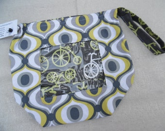 "Reversible WIP Bag with vinyl window, Size Small ""Citron Bikes"""